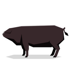 Flat geometric large black pig vector