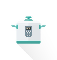 Flat style white kitchen multicooker vector