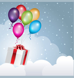 gift box flying in the clouds with balloons vector image