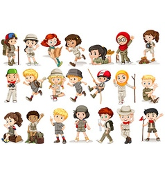 Girls and boys in camping costume vector