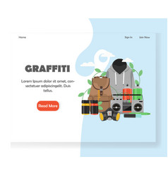 graffiti website landing page design vector image