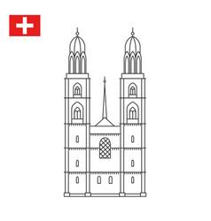 grossmunster church in zurich switzerland vector image