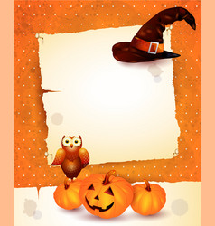 Halloween background with blank paper vector