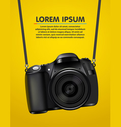hanging realistic photo camera professional photo vector image