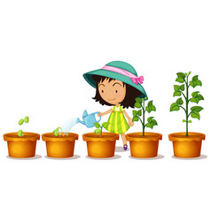 happy girl watering plants on white background vector image