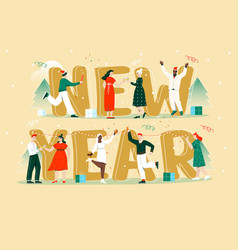 happy new year merry christmas concepts vector image
