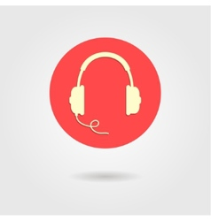 headphones icon in red circle vector image
