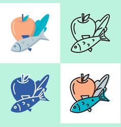 healthy food icon set in flat and line style vector image