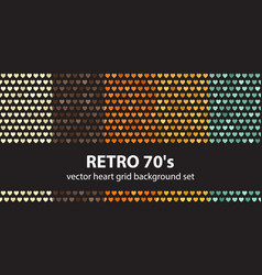 Heart pattern set retro 70s seamless vector