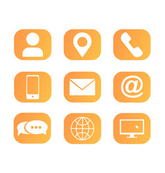 icons set for web page phone app contact us vector image