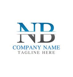 initial monogram letter nb logo design template vector image
