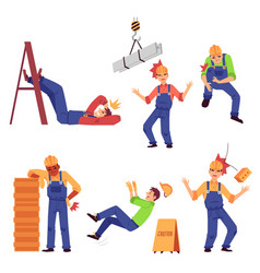 Injury at work set with construction worker flat vector