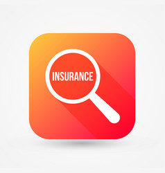 insurance word magnifying glass vector image