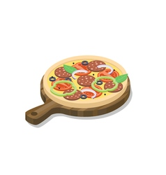 Isometric pizza with salami onion cheese basil vector