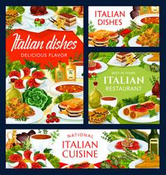 Italian cuisine dishes cartoon posters set vector