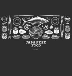 japanese cuisine design template sushi hand drawn vector image