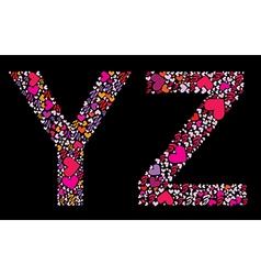 Letter y z valentine alphabet vector