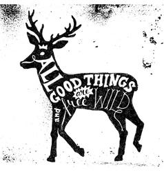 Lettering in deer silhouette vector