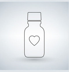 linear pill bottle icon with heart modern pill vector image