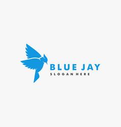 Logo bird blue jay silhouette style vector