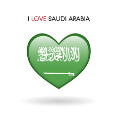 love saudi arabia symbol flag heart glossy icon vector image