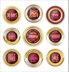 luxury golden badges collection 3 vector image