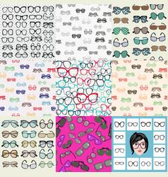 mega set fashion glasses sunglasses icon vector image