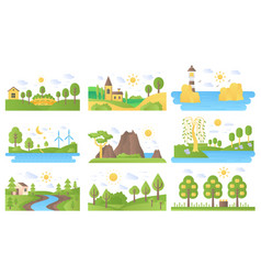 Mini landscapes icons set ecology nature vector