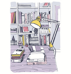 Modern interior home library bookshelves hand vector
