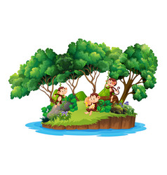 Monkey on isolated island vector