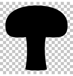 Mushroom simple sign Flat style black icon on vector