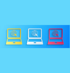 paper cut website on laptop screen icon isolated vector image