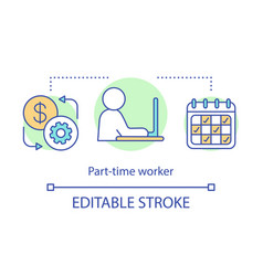 Part-time worker concept icon short-term vector