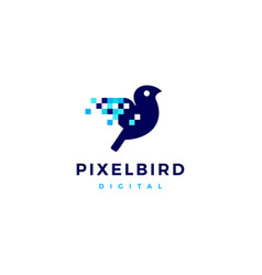 pixel bird digital logo icon vector image