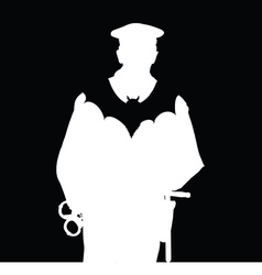 policeman with bat silhouette vector image
