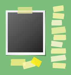 realistic photo frame with collection sticky vector image