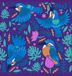 seamless pattern with kingfishers on a purple vector image