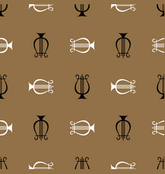 Seamless pattern with musical instrument harp vector