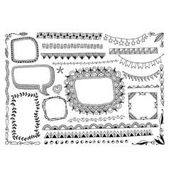 set doodle sketch frame line corner and vector image
