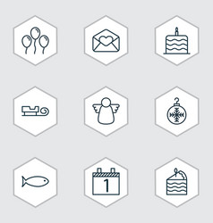 Set of 9 holiday icons includes sled agenda vector