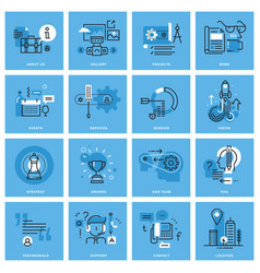 set of basic thin line concept icons vector image