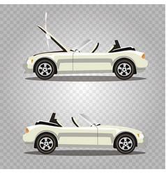 Set of broken cartoon white cabriolet sport car vector