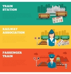 Set of railway banners vector image