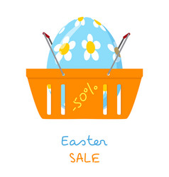 Shopping basket with easter egg vector