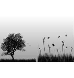 Silhouette of trees and birds on the white vector