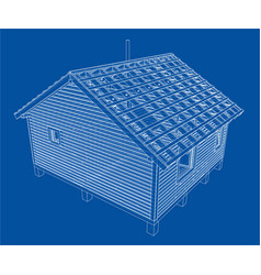 Sketch of small house rendering of 3d vector