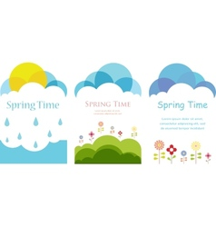 Spring time Three cards with clouds sun and vector