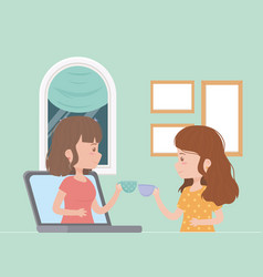 Stay at home social distancing women connected vector
