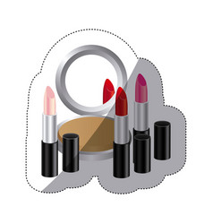 sticker colorful silhouette with make up set vector image