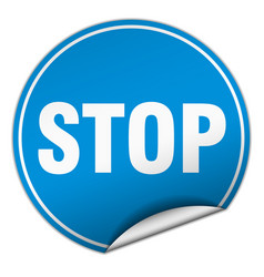 Stop round blue sticker isolated on white vector
